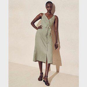 Witchery Khaki Green Linen Belted Button Dress 16